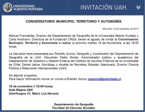 Conversatorio Municipio, territorio y autonomía