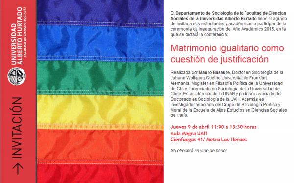 Conferencia Matrimonio igualitario como cuestión de justificación