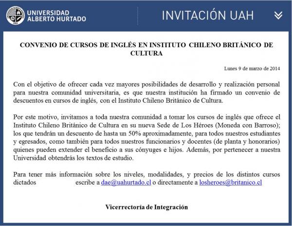 Convenio de cursos de Inglés en Instituto Chileno Británico de Cultura