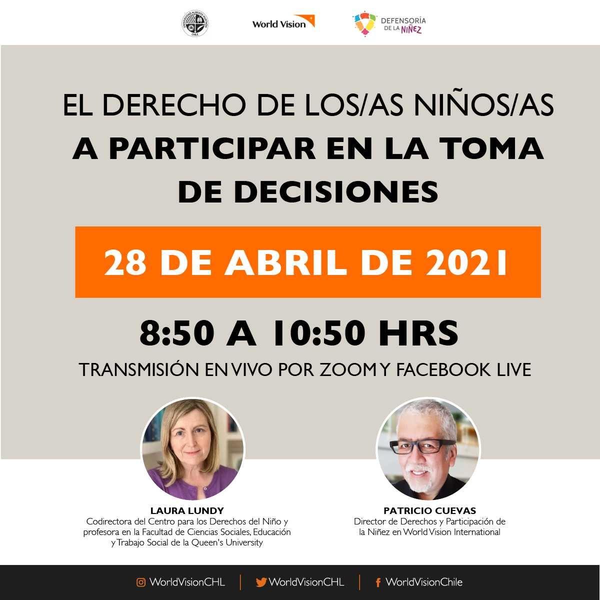 """AGENDA   Seminario: """"Infancia Constituyente: Propuestas y desafíos para la participación infantil y juvenil en Chile"""